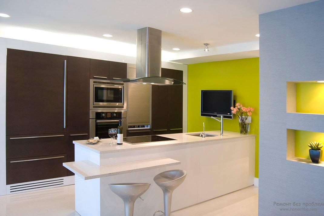 Зеленые тона на кухни