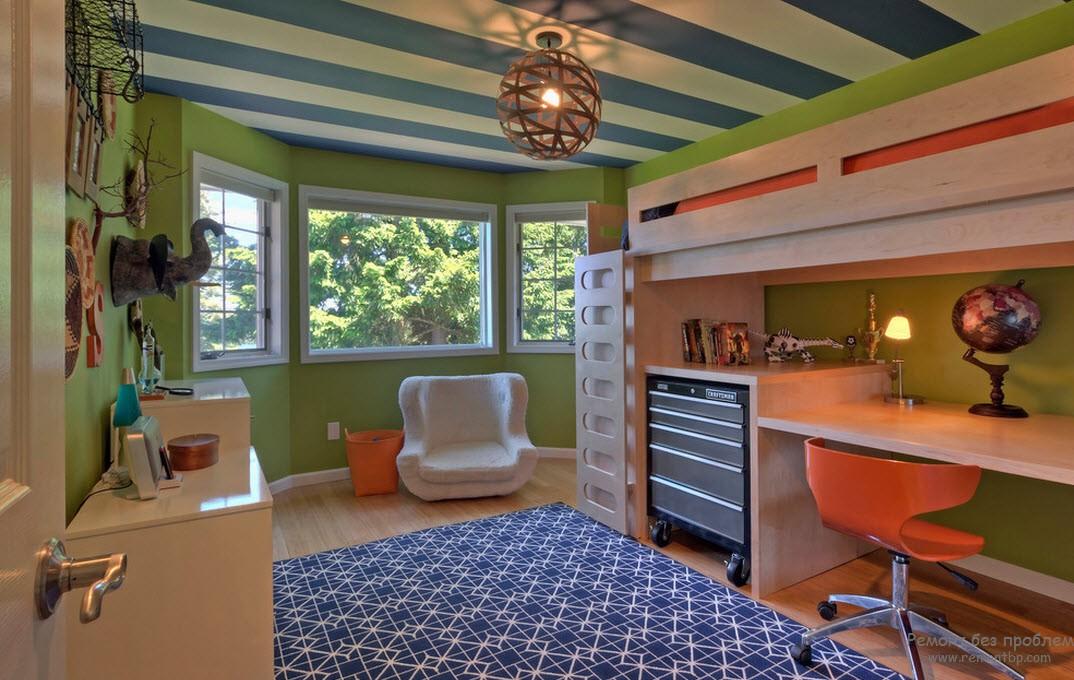 Дизайн комнаты для мальчика с использованием комбинации цевтов