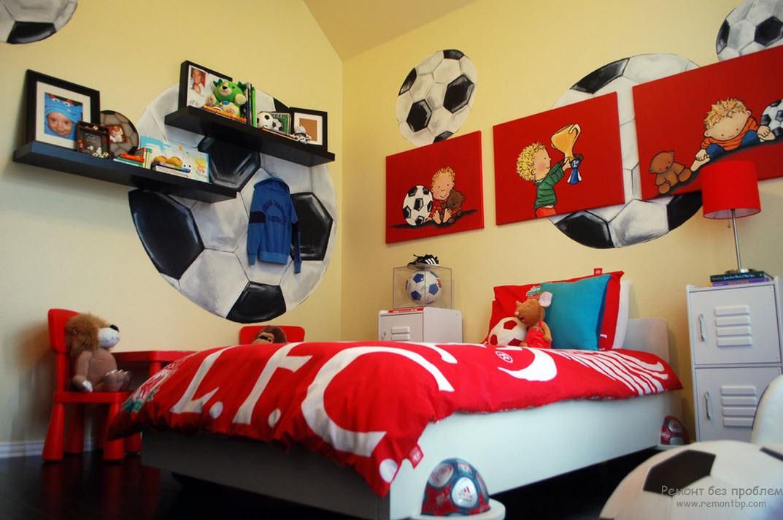 Красочный и веселый интерьер комнаты будущего футболиста