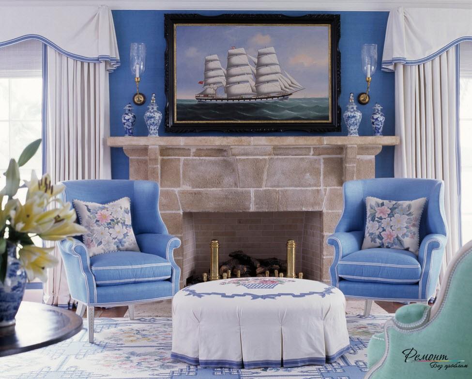 Светлые цвета для голубого интерьера