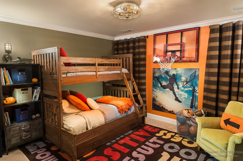 Интерьер комнаты юного любителя баскетбола
