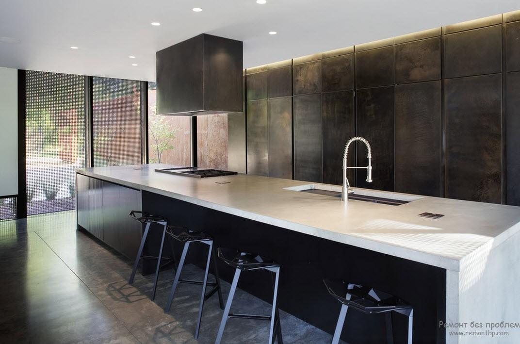 Металлическая кухня - стильный интерьер