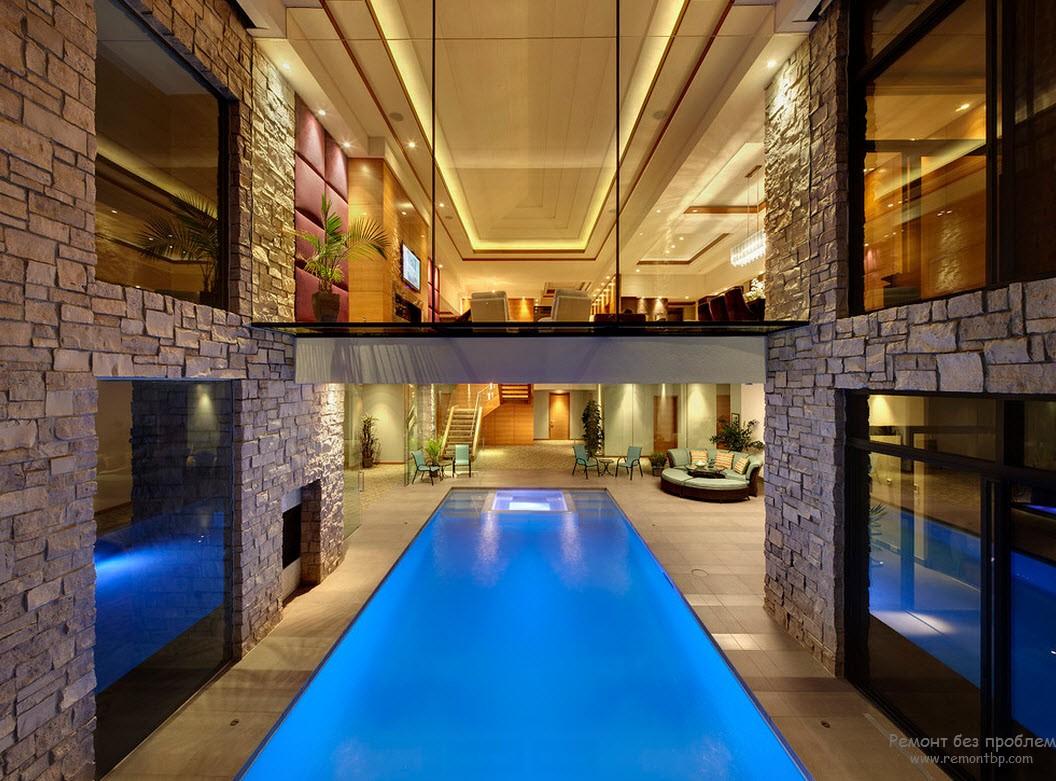 Красивый дизайн дома с бассейном