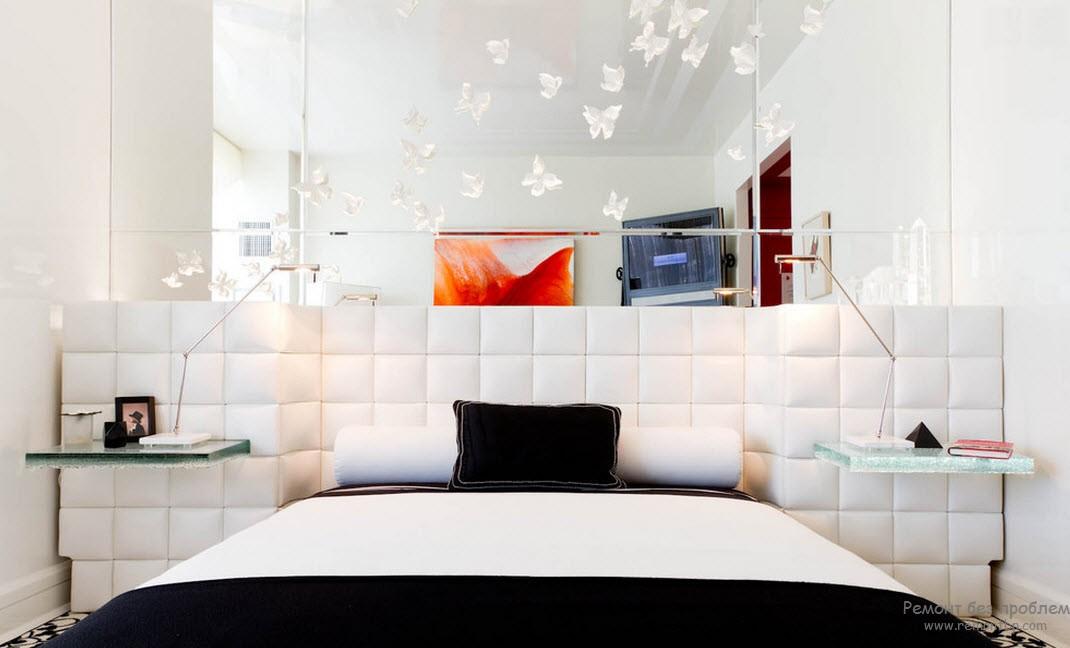 Спальня с доминирующим белым цветом