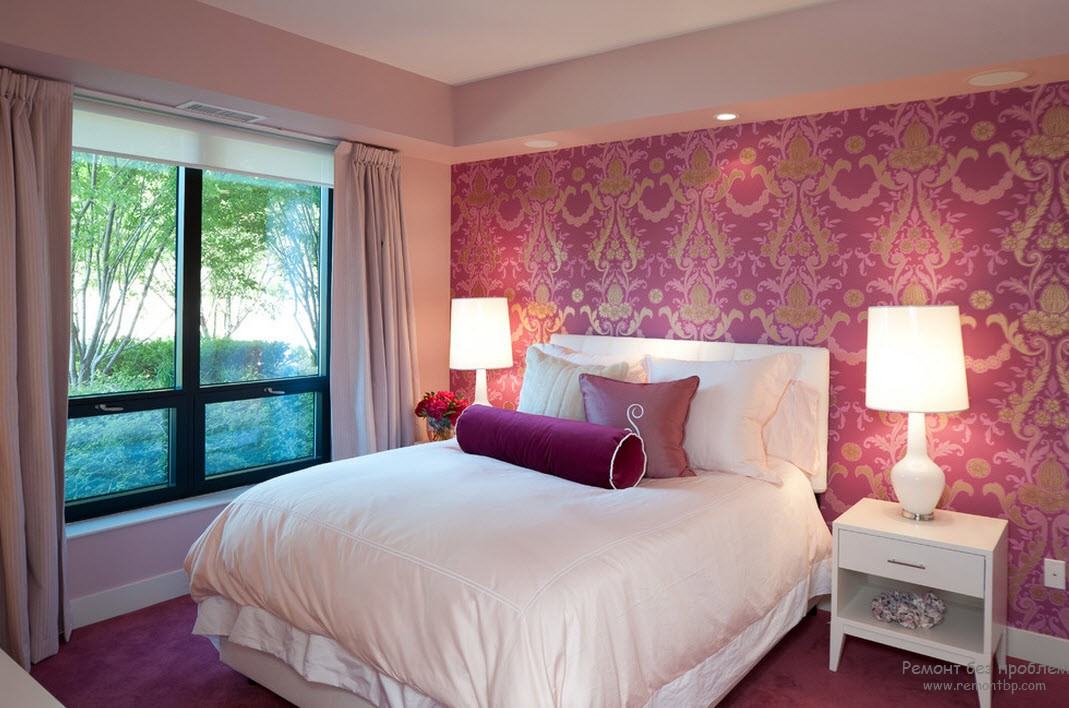 Освещение в розовой спальне