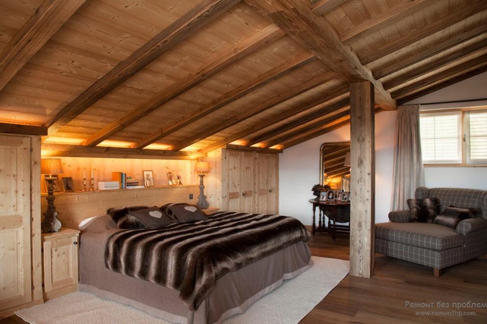 Дизайн спальной в шале