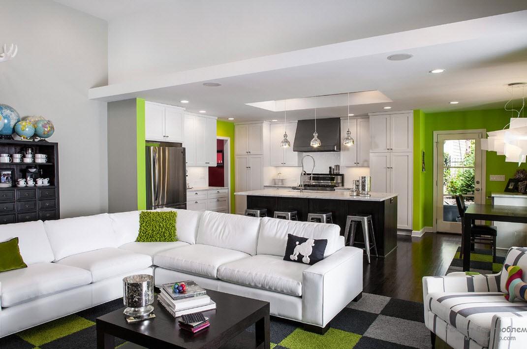 Салатовый цвет в гостиной