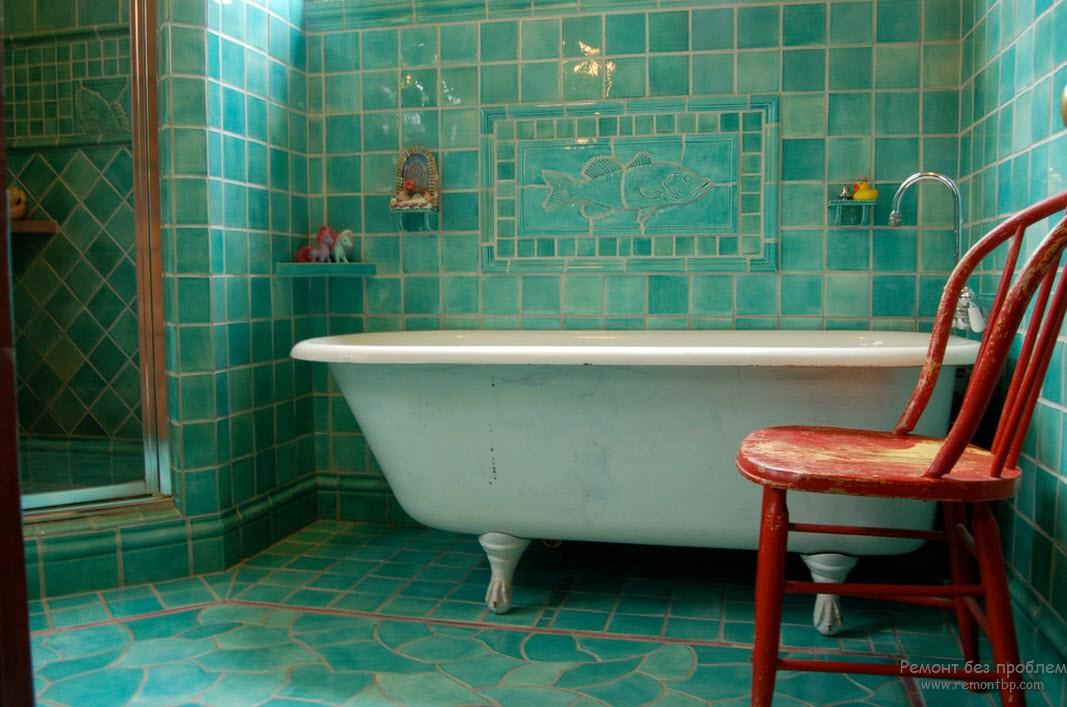 Бирюзовый интерьер ванной