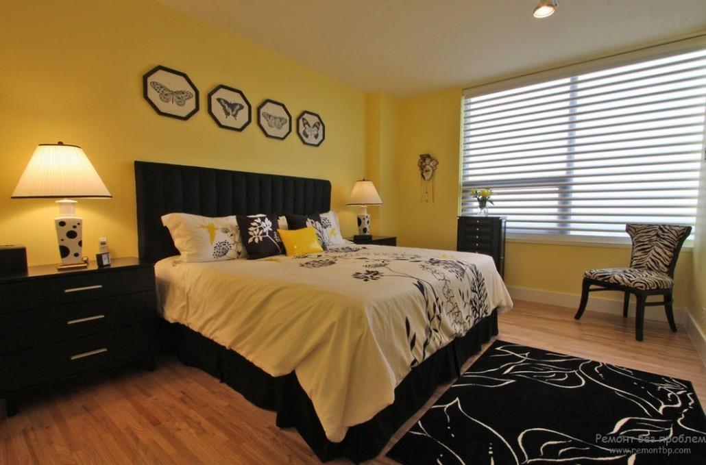 Желтый дизайн спальни