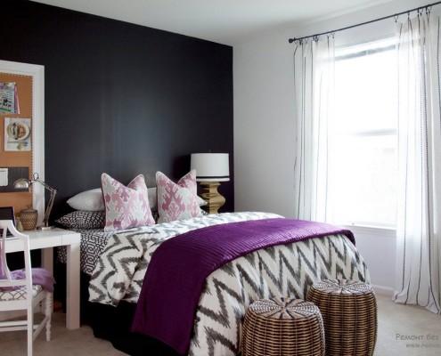 Аксессуары в фиолетовой спальне