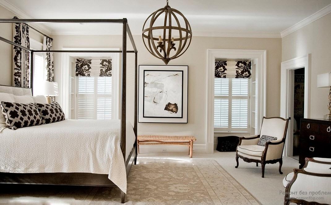 Классический стиль в черно-белой спальне