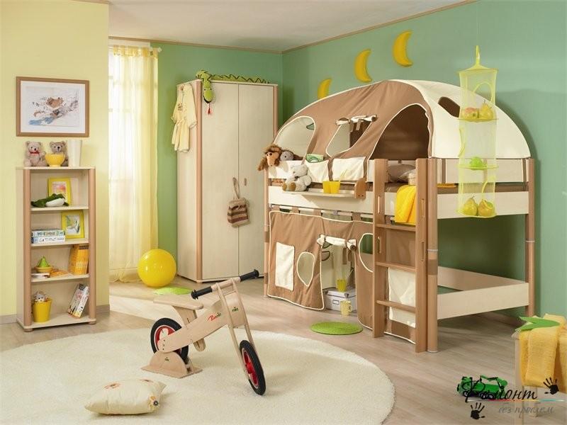Приятный для глаз зеленый дизайн комнаты