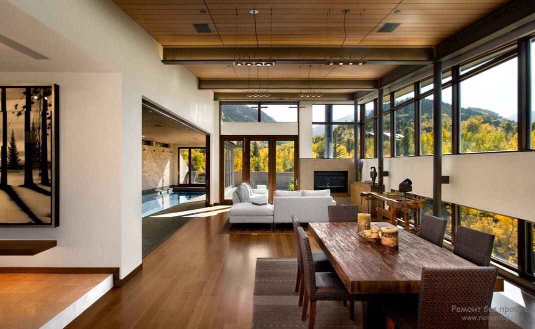 Помещение бассейна должно соответствовать общей стилистике дома
