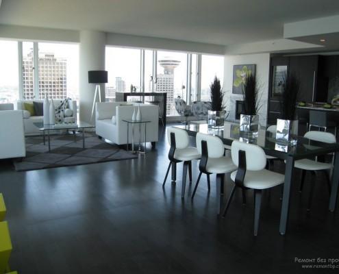 Белая мебель в черно-белой гостиной