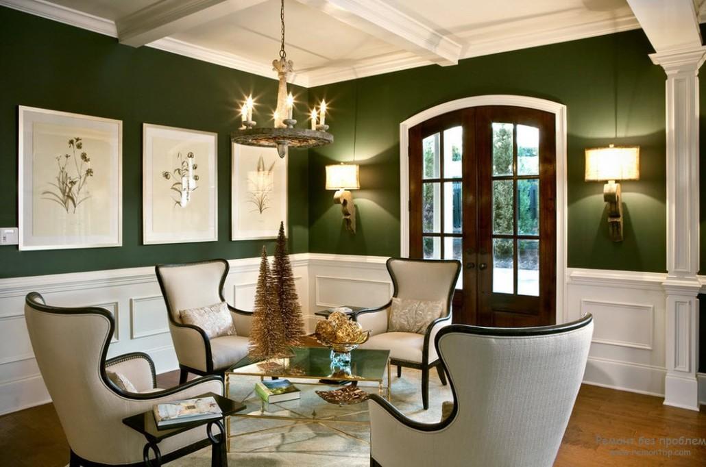 Оливковые стены темные двери