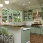 Интерьер кухни салатового цвета — весенняя свежесть в квартире