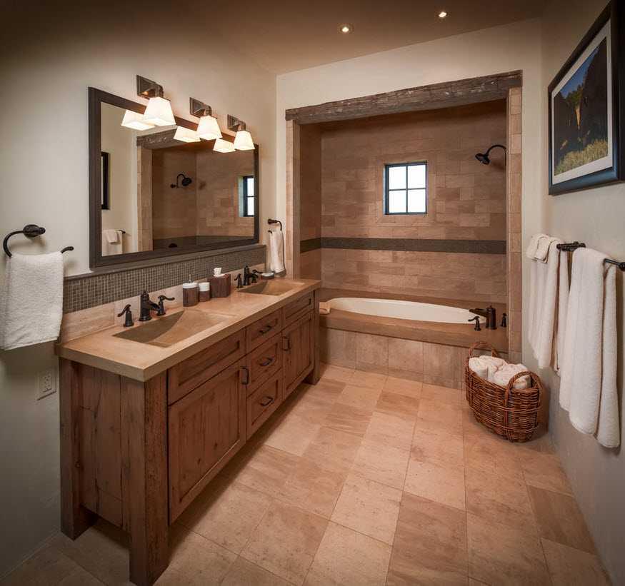 Дизайн ванной бежевой