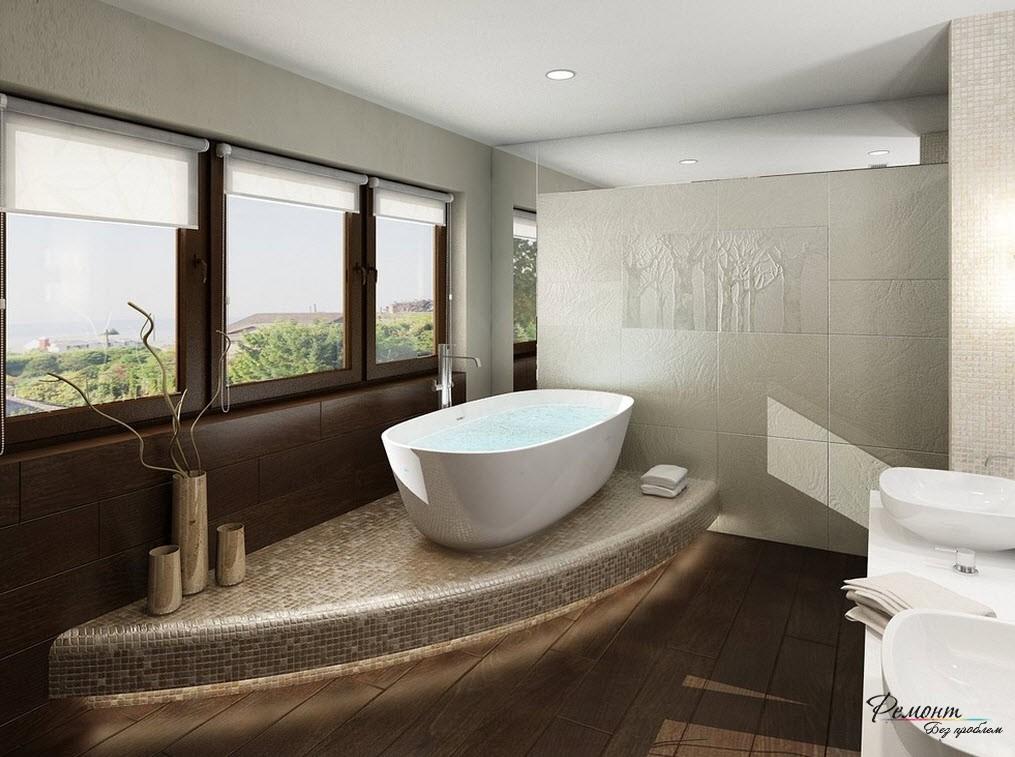 Красивый интерьер ванной комнаты, где подиум занимает небольшую площадь