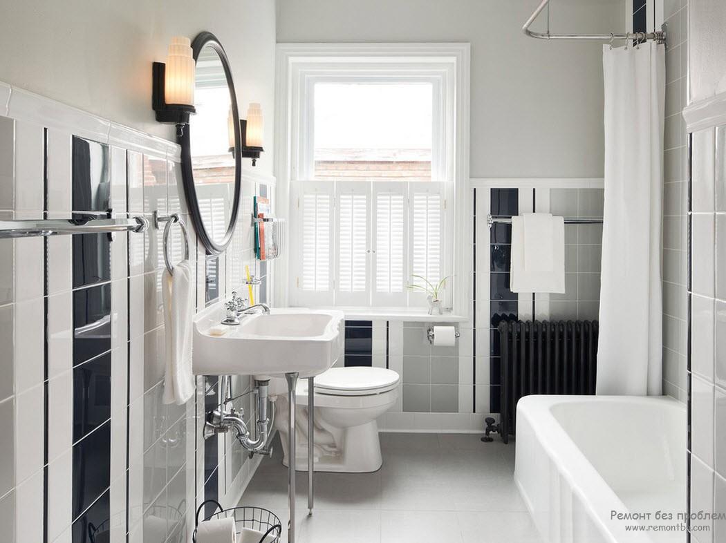Черно=бело-серый интерьер ванной комнаты - классическая элегантность