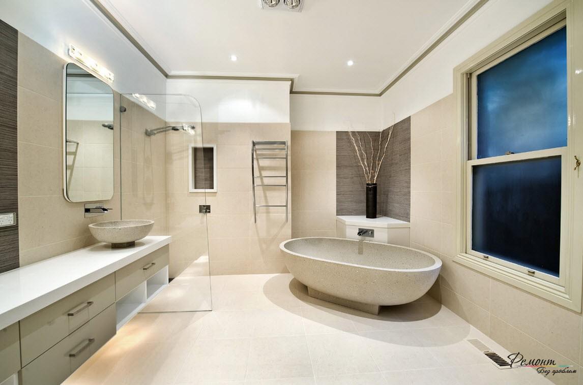 Ванна и раковина в одном стиле создают гармонию всего помещения