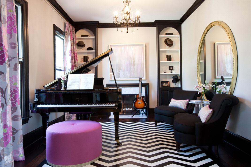Розово-черно-белая гостиная - стильное сочетание