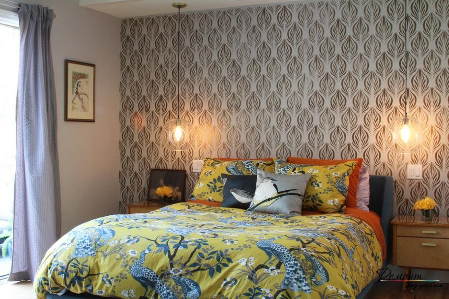 ОБои с растительным рисунком в интерьере спальни