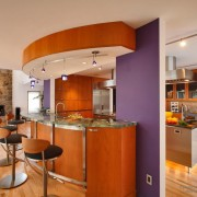Фиолетовые панели на кухне