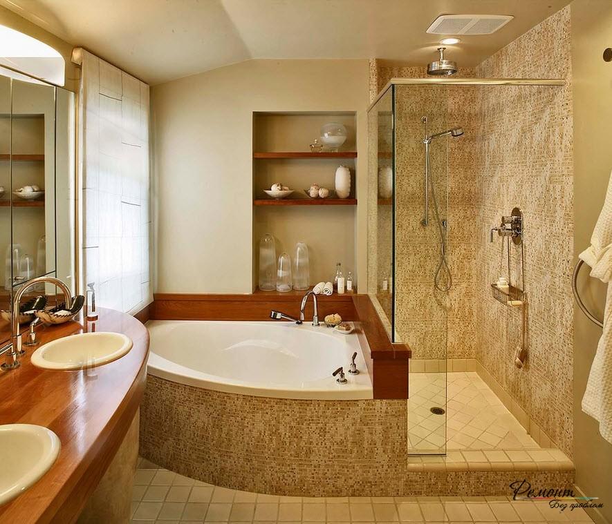 Достоинство угловой ванны в компактном размещении и возможности создания красивого интерьера