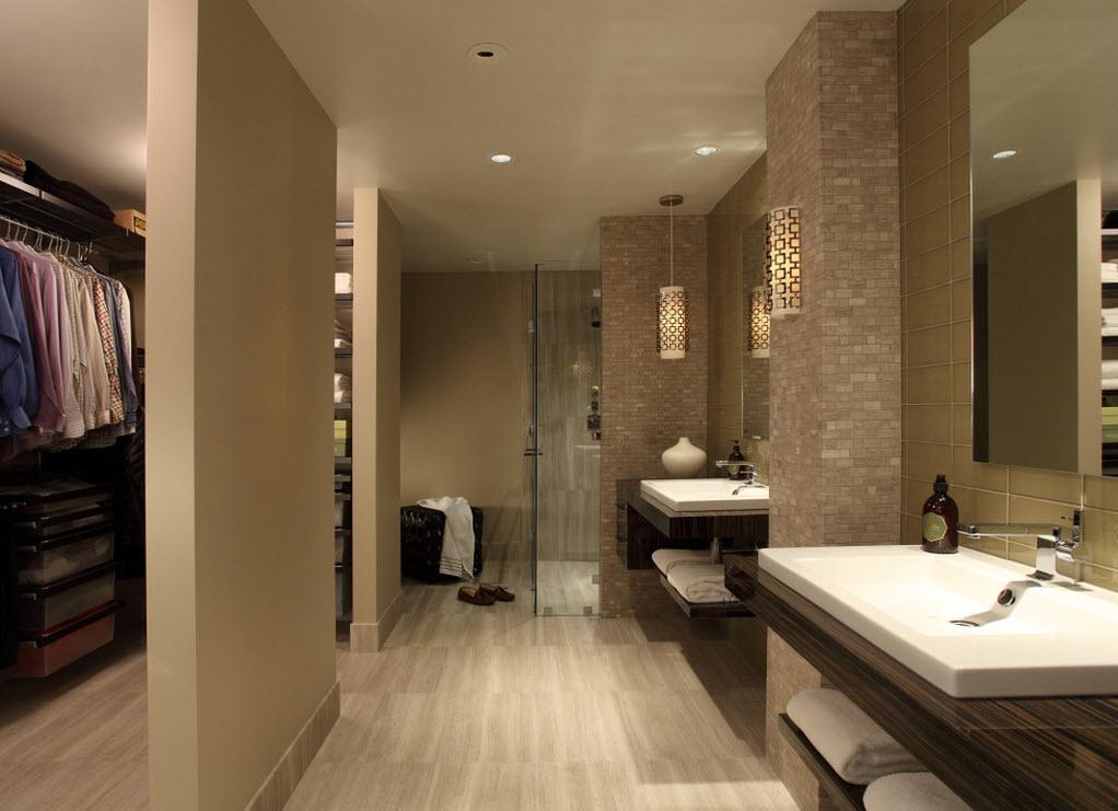 Бежевая ванная в стиле хай тек