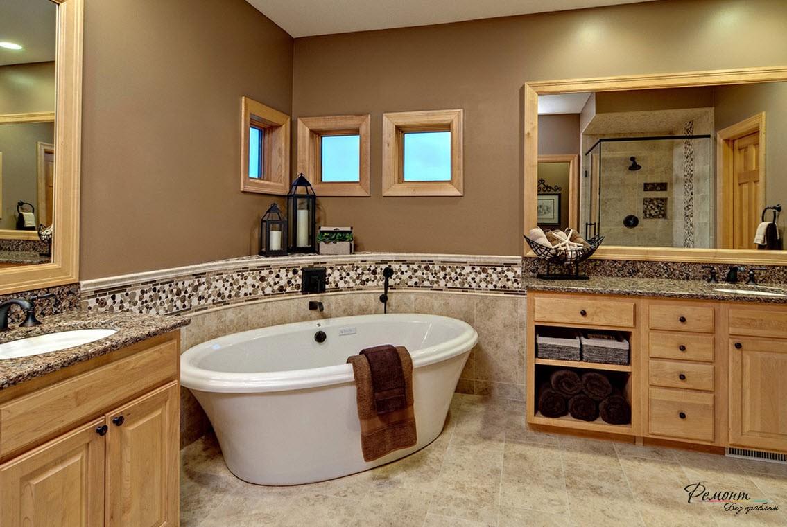 Чугунная ванна установлена в угол