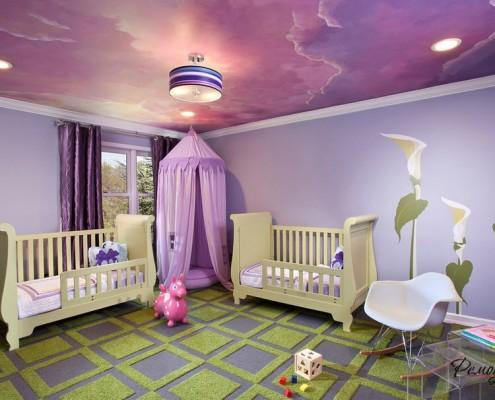 Фиолетово-зеленый интерьер