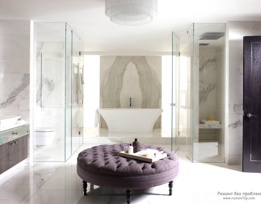 Фиолетовый цвет в интерьере ванной комнаты: красивые идеи на фото