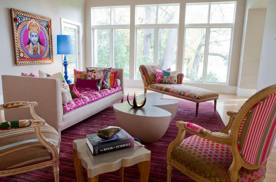 Дизайн красивой розовой гостиной