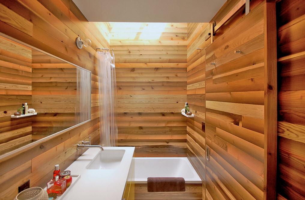 Ванная в деревянном убранстве