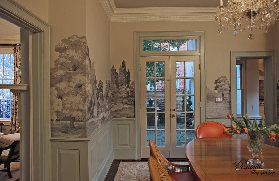 Красивый интерьер с оригинальным пейзажным рисунком на стенах