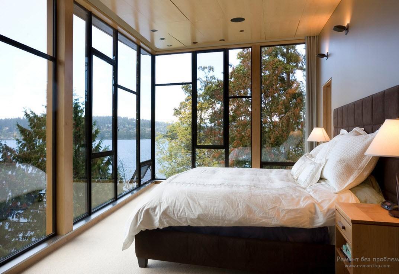 Дизайн окна в спальной комнате, Красивый интерьер спальни с окном