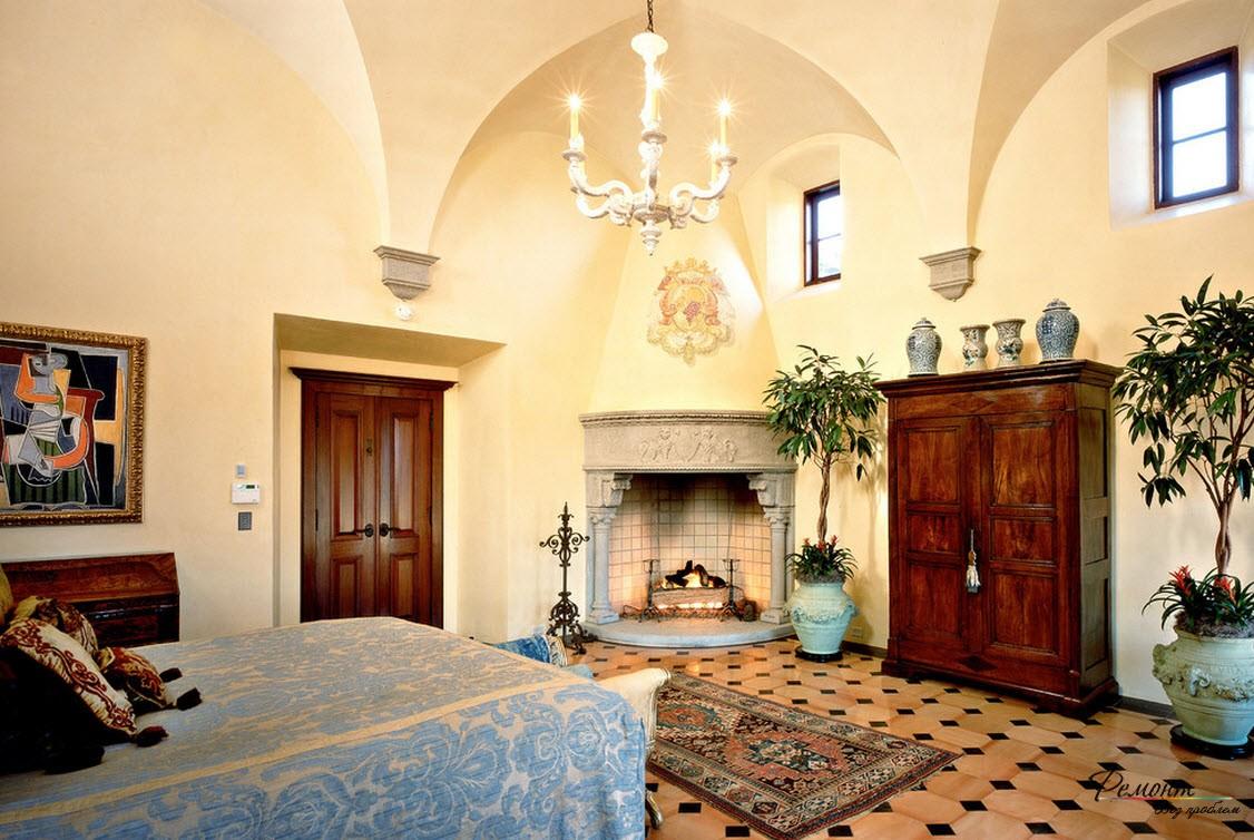 Интерьер комната с угловым камином в