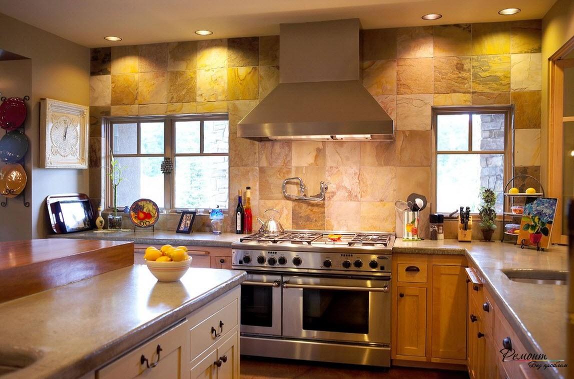 Впечатляет своим грубоватым видом дизайн плитки, имеющей фактуру камня