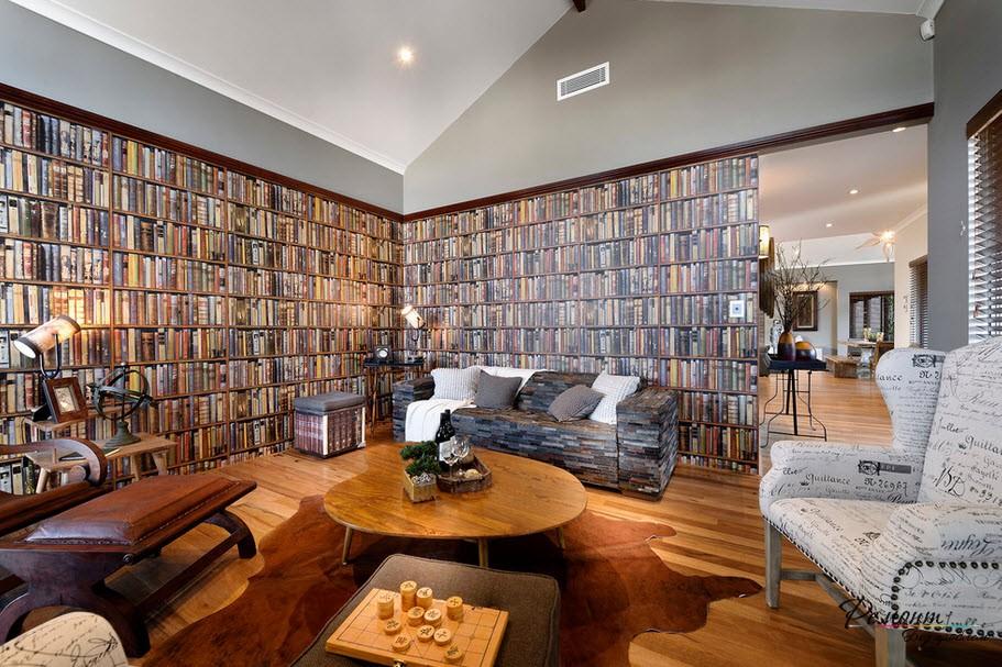 Книжные обои - отличная идея для создания старинного интерьера с огромной библиотекой