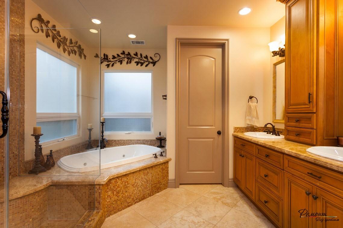 Ванна способствует тематическому оформлению помещения и экономит место