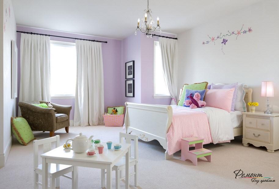 Фиолетово-розовый интерьер