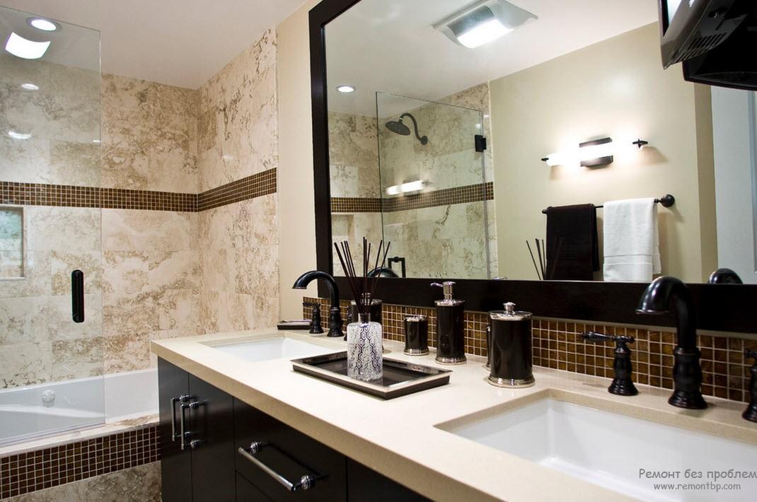 Отделка стен плиткой прекрасно смотрится в интерьере ванной комнаты