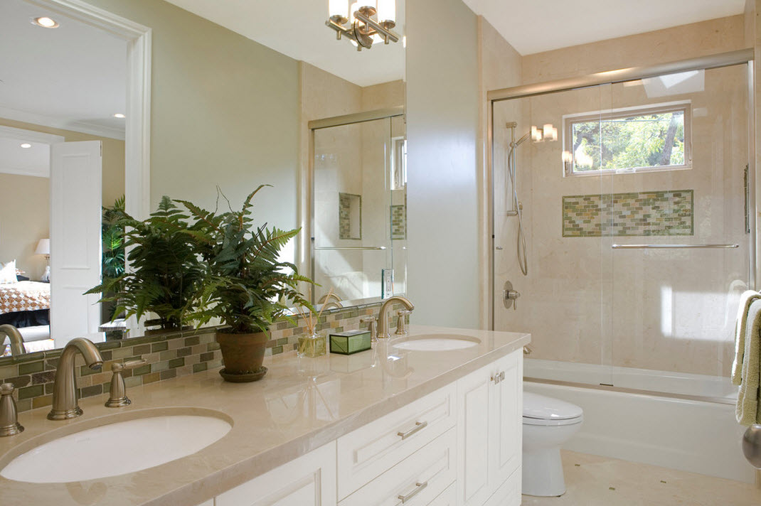 Дизайн ванной комнаты в бежевом цвете