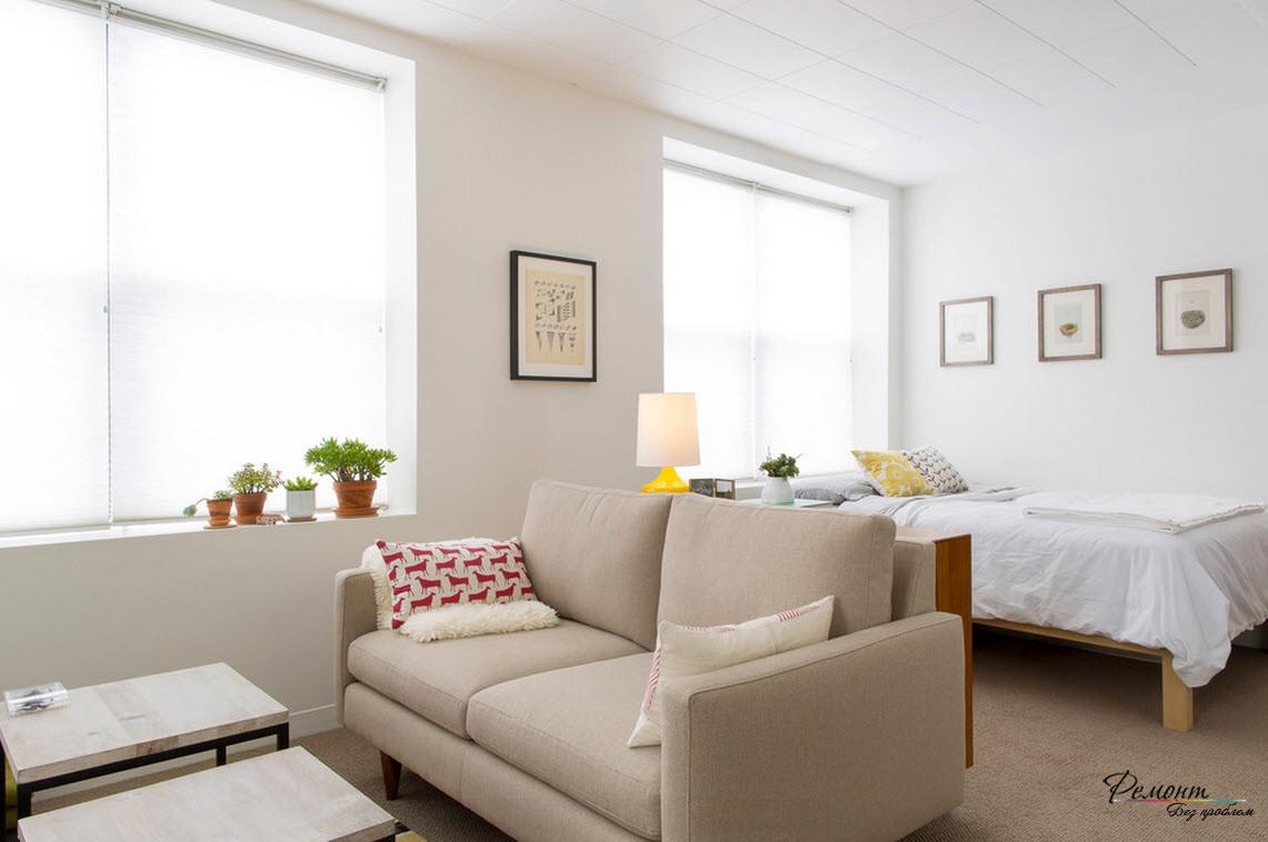 При правильно подобранной цветовой гамме, ваша однокомнатная квартира визуально станет больше
