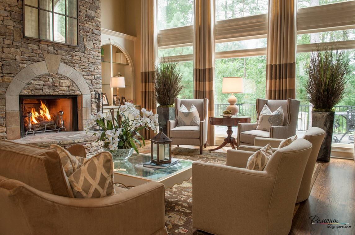 Камень всегда очень выигрышно и богато смотрится в интерьере гостиной