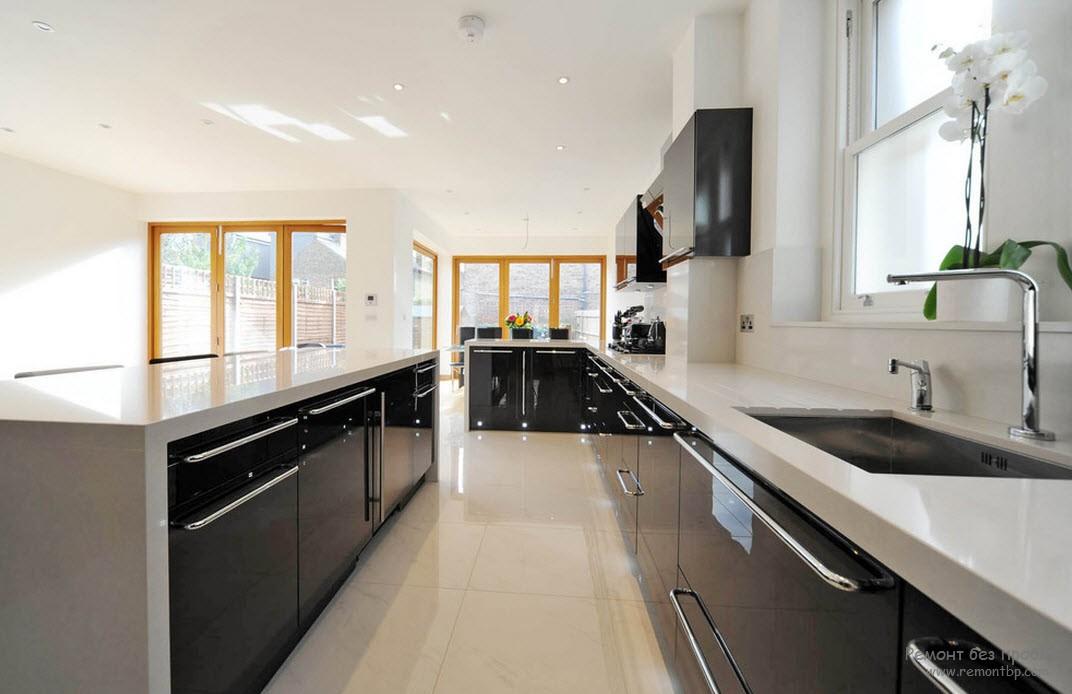 Черно белый интерьер кухни