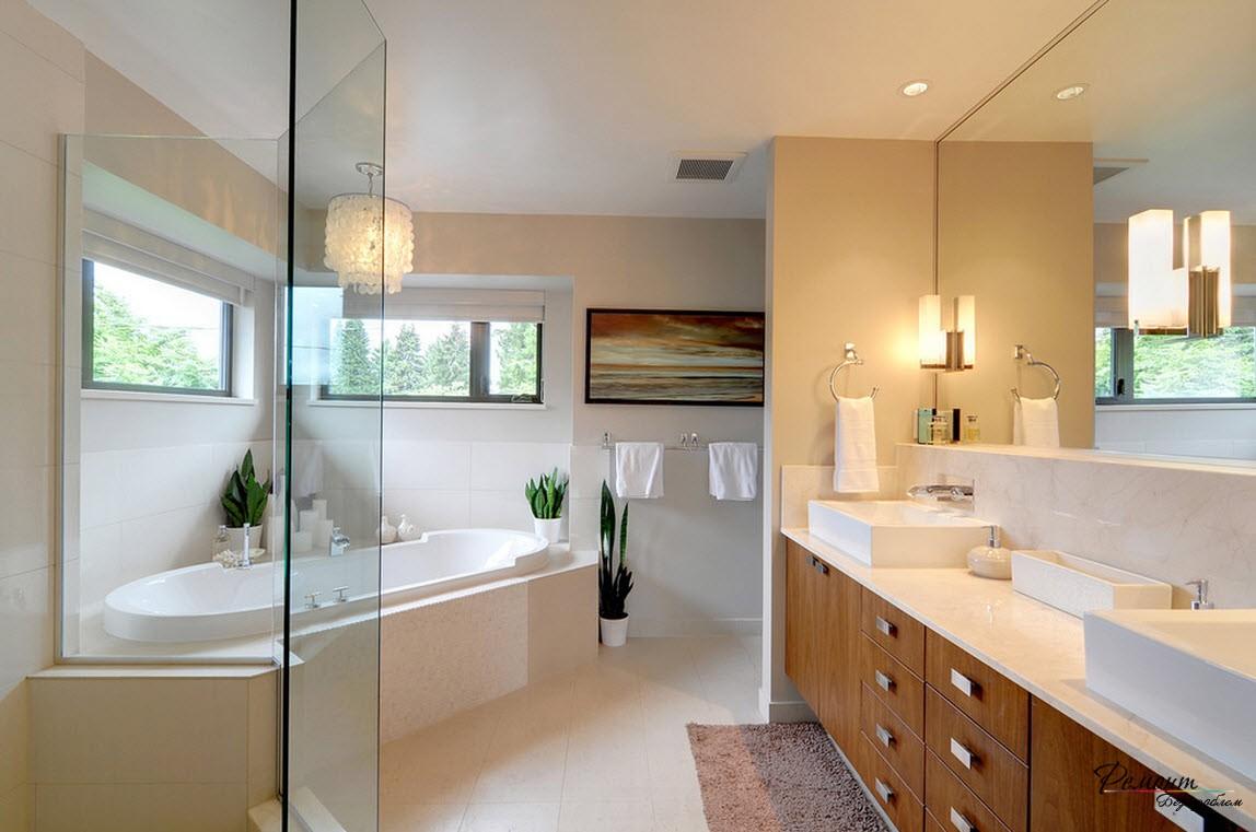 Оригинально оформленная ванна с элементами эко-стиля