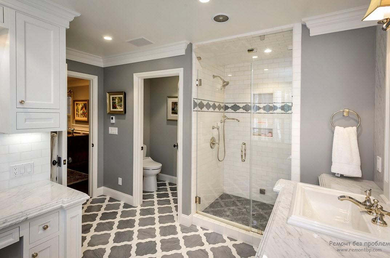 Красивый интерьер серой ванной комнаты в сочетании с белым цветом