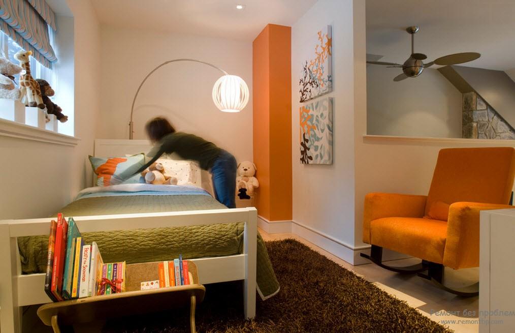 Зеленый и оранжевый в детской комнате