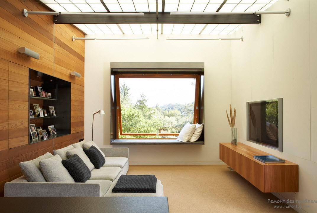 Оригинальный дизайн окна гостиной